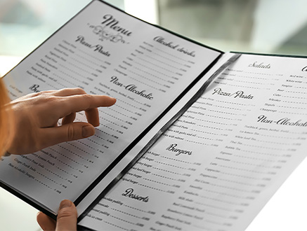 Woman looking at a menu